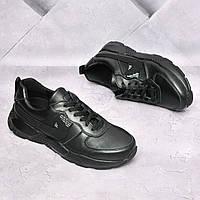 Чоловічі шкіряні кросівки Nike Чорні, фото 1
