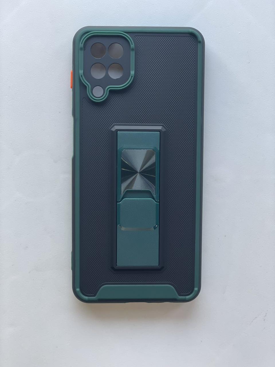 Чехол накладка  на Samsung А12 чорно-зелений