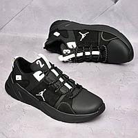 Чоловічі шкіряні кросівки Jordan Чорні, фото 1