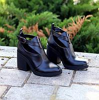 Дизайнерские черные кожаные женские ботинки ботильоны натуральная кожа