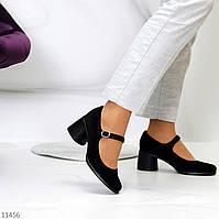 Черные замшевые женские туфли натуральная замша на удобном каблуке классика