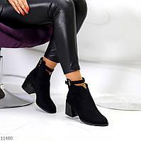 Люксовые черные замшевые женские ботинки ботильоны на среднем каблуке