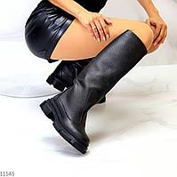 Крутые кожаные женские сапоги труби из натуральной кожи флотар на флисе