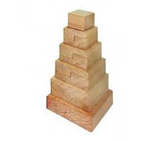 Деревянная игрушка Пирамидка Квадрат Д007бу Руди