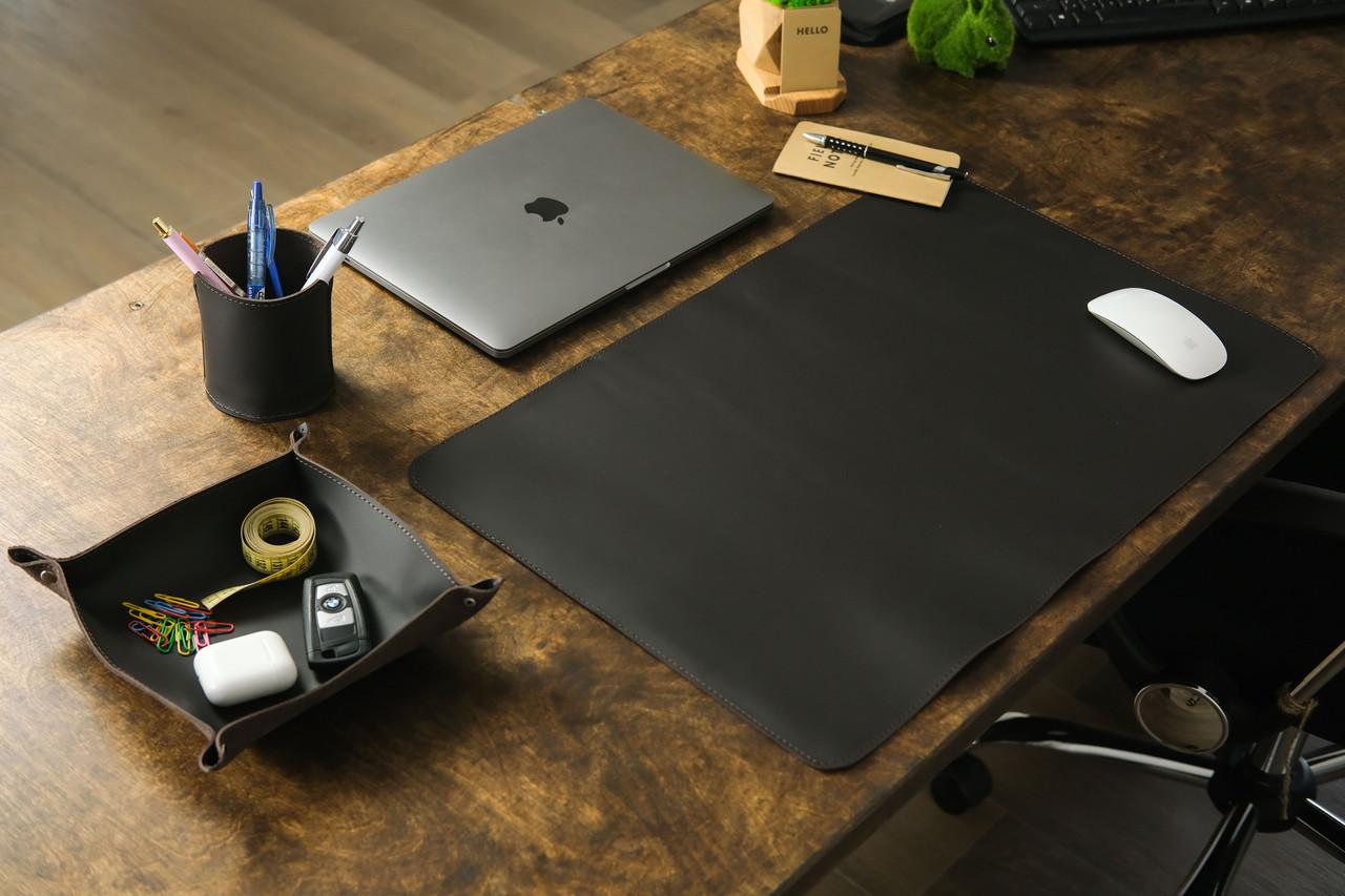 Кожаный набор аксессуаров для офиса, кожа Grand, цвет коричневый, оттенок Шоколад