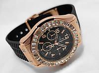 Женкские часы HUBLOT - Geneve, черный каучуковый ремешок, cristal, кристалы
