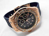 Женкские часы HUBLOT - Geneve, синий каучуковый ремешок, cristal, кристалы