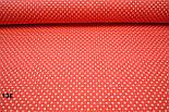 Бязь с белыми точками 2 мм на красном фоне (№ 138)., фото 4
