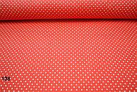 Бязь красного цвета с белыми точками 2 мм (№ 138).