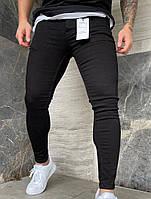 Мужские черные джинсы зауженные, укороченные
