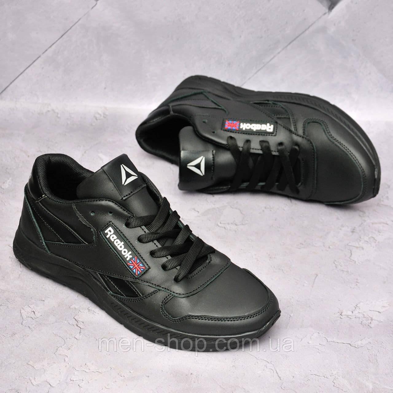 Мужские кожаные кроссовки Reebok Черные