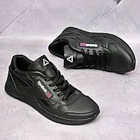 Чоловічі шкіряні кросівки Reebok Чорні, фото 1