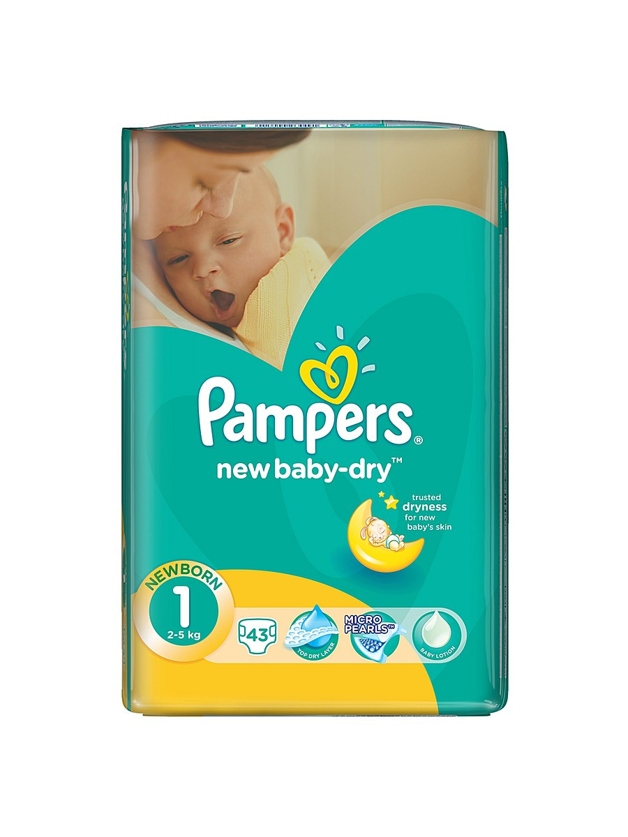 Подгузники Pampers Active Baby-Dry newborn 1 (2-5кг.) 43 шт.