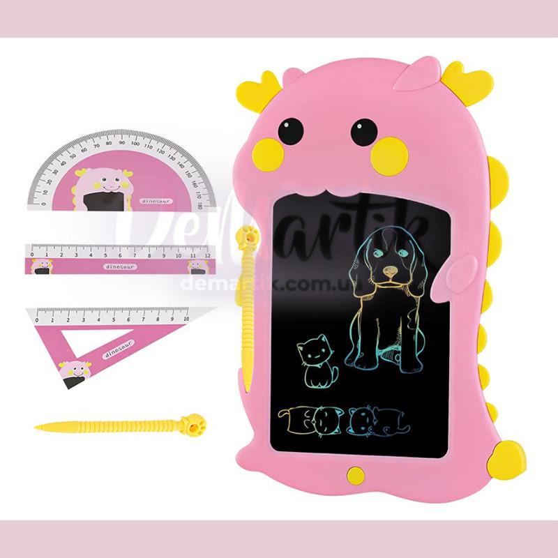 """Дитячий графічний планшет 8,5"""" LCD WRITING TABLET multicolor Динозаврик рожевий"""