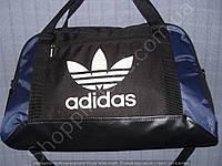 Багажная сумка Adidas 013671 малая (50х32х20, см) черная с синим спортивная дорожная текстиль кожзам