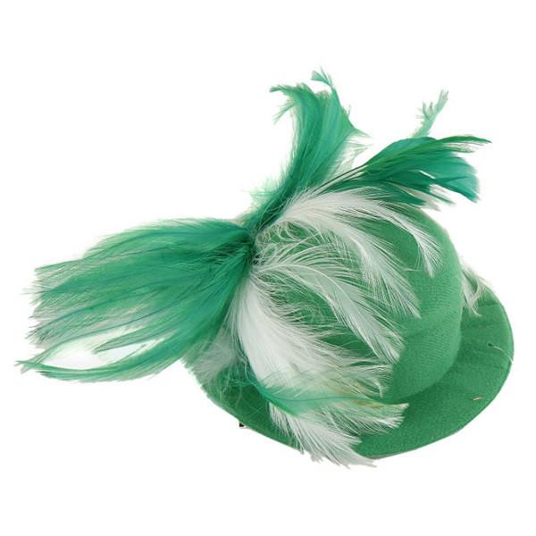"""Капелюшок фетровий """"Кокетка"""" з пір'ям, зелено-біла"""