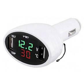 Термометр-вольтметр VST 708, зел/черв. цифри, +2 USB, фото 2
