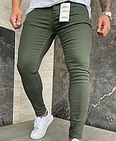 Мужские джинсы зауженные, укороченные цвет хаки
