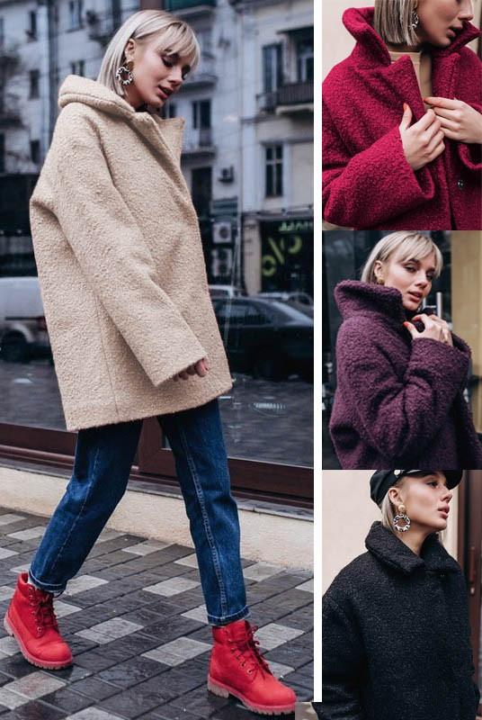 Жіночі пальто букле на холофайбері великі розміри і норма (розміри 42-70)