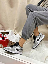 Жіночі кросівки Nike Air Jordan 1 Low Gray (сірі) шкіряне взуття NL006