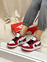 Чоловічі кросівки Nike Air Jordan Low (чорно-червоні) NL007 повсякденні молодіжні Найк
