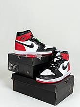 Чоловічі кросівки Nike Air Jordan 1 Retro (біло-чорне з червоним) J2063 модні високі кроси