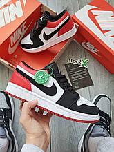 Чоловічі кросівки Nike Air Jordan 1 (біло-чорне з червоним) 652TP повсякденні якісні кроси