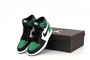 Чоловічі кросівки Nike Air Jordan 1 Retro x Dior (зелені з білим) K12603 високі бігові кроси
