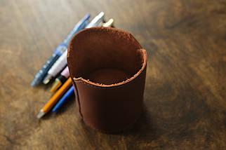 Кожаный стакан для ручек и карандашей, кожа Grand, цвет Виски, фото 2