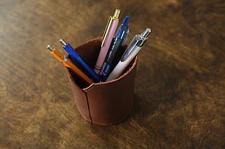 Кожаный стакан для ручек и карандашей, кожа Grand, цвет Виски, фото 3
