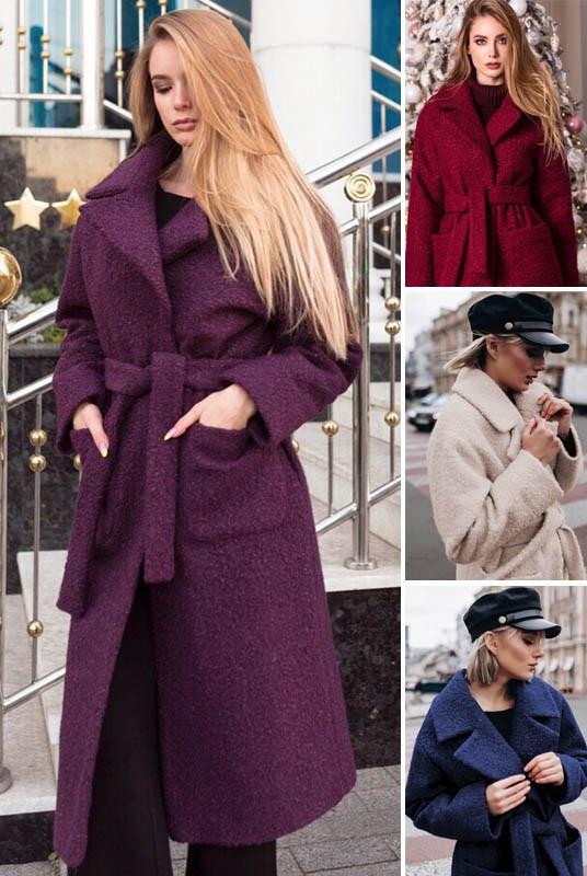Жіночі довгі пальто букле на холофайбері великі розміри і норма (розміри 42-70)