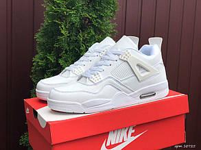 Чоловічі кросівки Nike Air Jordan 4 (білі) В10725 високі круті кроси