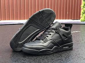 Чоловічі кросівки Nike Air Jordan 4 (чорні) В10726 високі модні кроси