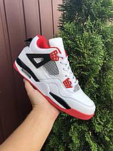 Чоловічі кросівки Nike Air Jordan 4 (білі з червоним) В10727 високі молодіжні кроси