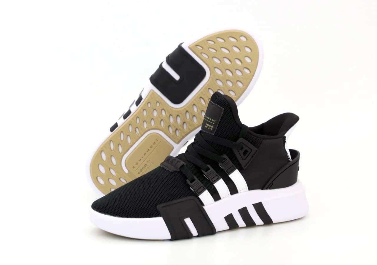 Мужские кроссовки Adidas EQT (бело-черные) К12210 текстильная молодежная обувь для парней
