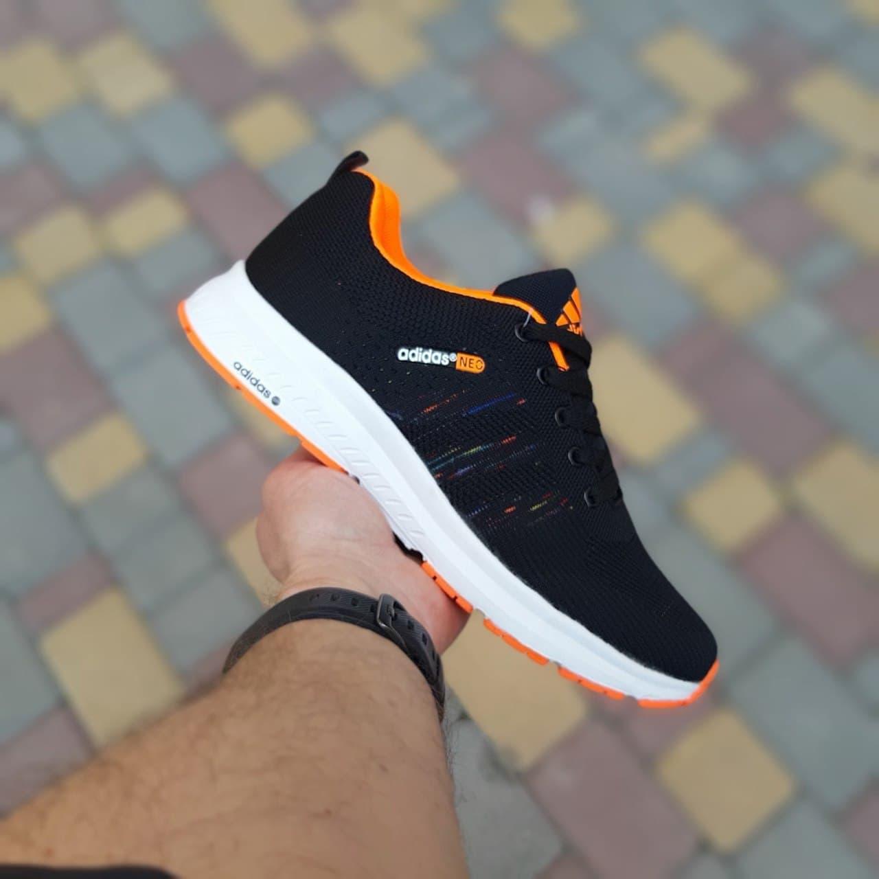Женские кроссовки Adidas NEO (черные с оранжевым) О20070  модная и актуальная обувь