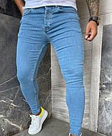 Мужские джинсы зауженные, укороченные синие