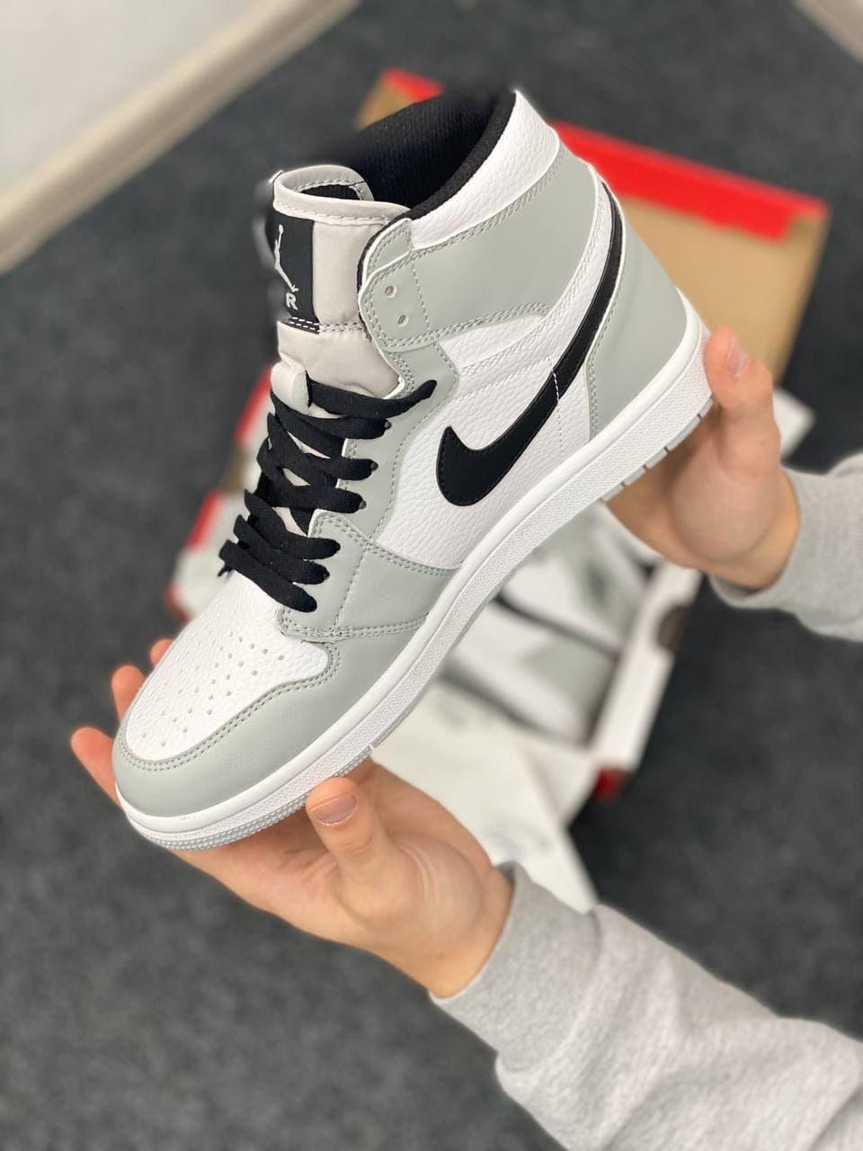 Женские кроссовки Nike Air Jordan Retro High Black/Gray NJ011 ( серо-белые) высокие женские кроссы