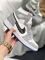 Мужские кроссовки Nike Air Jordan Retro High Dior (серо-белые) NJ005 высокие мужские кроссы