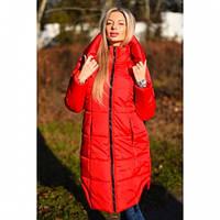 Пальто пуховик Илона красное, верхняя одежда