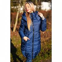 Пальто пуховик Илона синий, верхняя одежда
