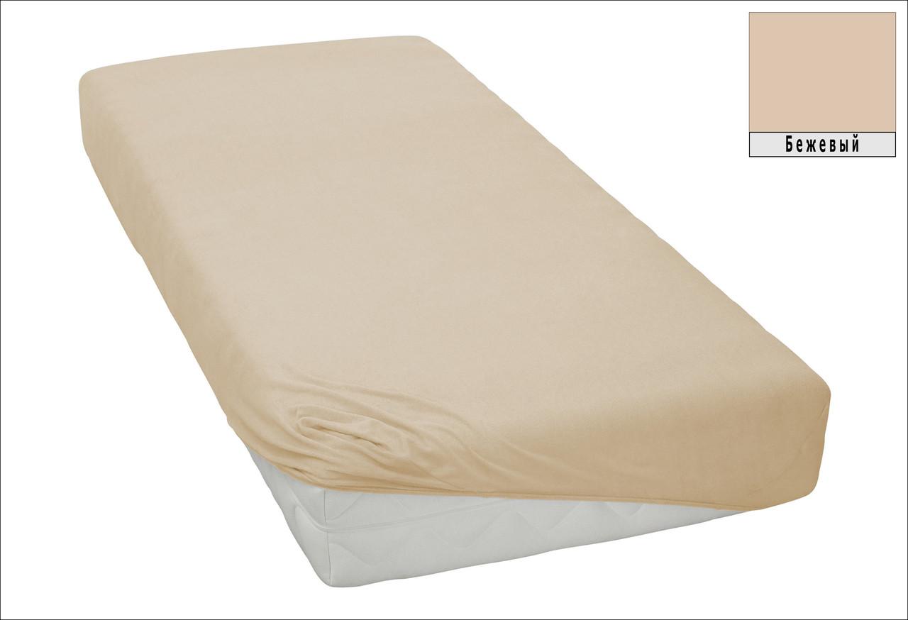 Трикотажная простынь на резинке спальное место 90*200 см Бежевого цвета турецкого производства, бренд KAYRA
