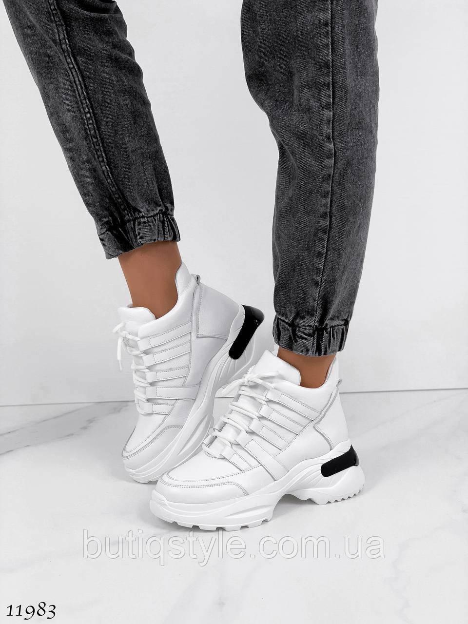 Жіночі високі білі кросівки натуральна шкіра
