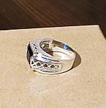 Серебряное мужское кольцо с синим камнем, фото 2