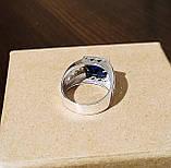 Серебряное мужское кольцо с синим камнем, фото 3