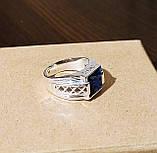 Серебряное мужское кольцо с синим камнем, фото 4