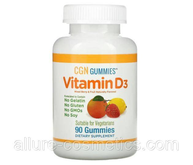 Дитячий жувальний вітамін D3 California Gold Nutrition без желатину і глютену зі смаком фруктів 90шт 25 мкг
