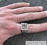 Серебряное мужское кольцо с крестом печатка, фото 2