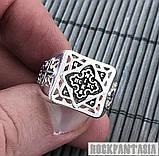 Срібне чоловіче кільце з хрестом печатка, фото 3