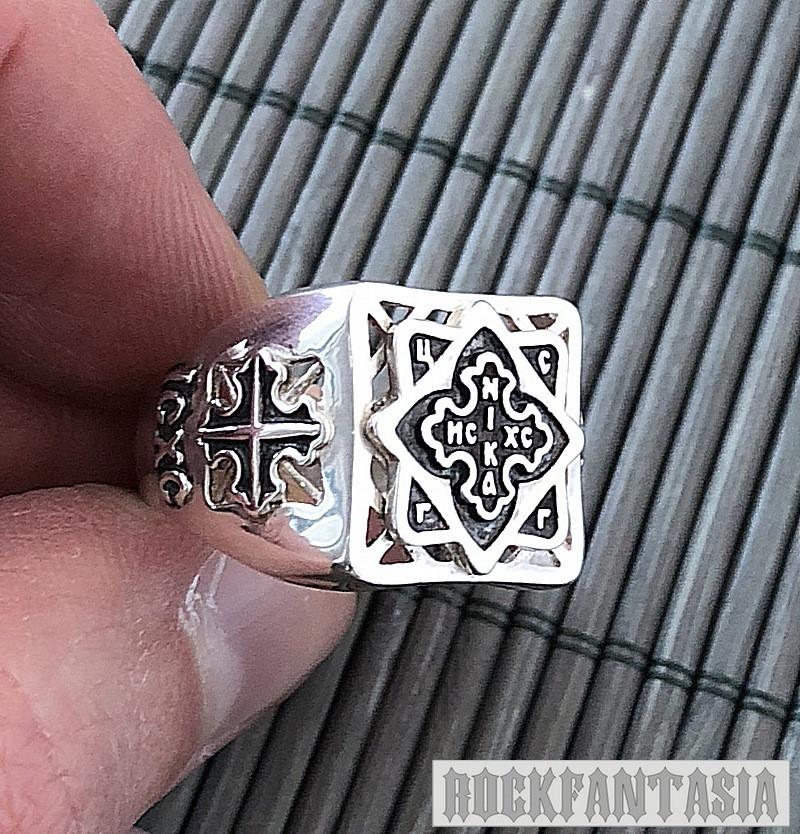 Серебряное мужское кольцо с крестом печатка